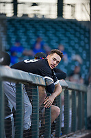 AZL White Sox Austin Crutcher (23) in the dugout during the game against the AZL Cubs on August 13, 2017 at Sloan Park in Mesa, Arizona. AZL White Sox defeated the AZL Cubs 7-4. (Zachary Lucy/Four Seam Images)