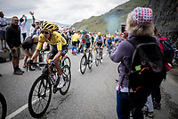 yellow jersey / GC leader Egan Bernal (COL/Ineos) comfortable in the group 2 km from the finish in Val thorens<br /> <br /> shortened stage 20: Albertville to Val Thorens (59km in stead of the original 130km due to landslides/bad weather)<br /> 106th Tour de France 2019 (2.UWT)<br /> <br /> ©kramon