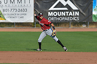 Idaho Falls Chukars second baseman Angelo Castellano (13) throws to first base against the Ogden Raptors in Pioneer League action at Lindquist Field on September 3, 2016 in Ogden, Utah. The Chukars defeated the Raptors 3-0. (Stephen Smith/Four Seam Images)