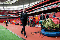 Manager of Swansea City, Paul Clement walks around the pitch ahead of the Premier League match between Arsenal and Swansea City at Emirates stadium, London, England, UK. Saturday 28 October 2017