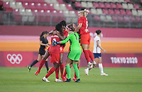 KASHIMA, JAPAN - AUGUST 2: Canada team members celebrate during a game between Canada and USWNT at Kashima Soccer Stadium on August 2, 2021 in Kashima, Japan.
