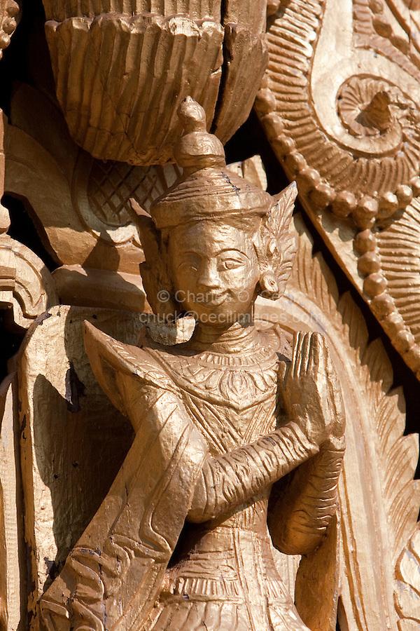 Myanmar, Burma. Traditional Deity, a Nat, in Temple Decoration, Shwezigon (Shwezegon)  Pagoda, Nyaung Oo, near Bagan.  11th. Century.