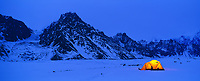 Panorama of winter camp, Twaharpies glacier, Wrangell St. Elias mountain range, Wrangell St. Elias National Park, Alaska.