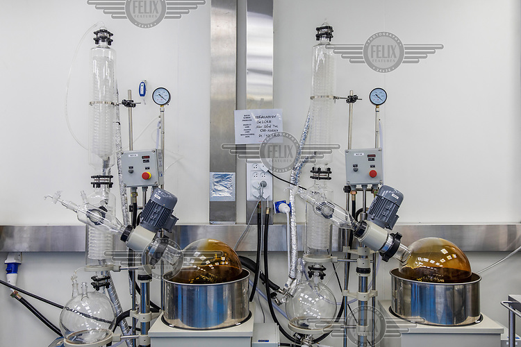 Equipment used in the extraction process of cannabis oil for medicinal use in a laboratory at the pharmaceutical company Panaxia.