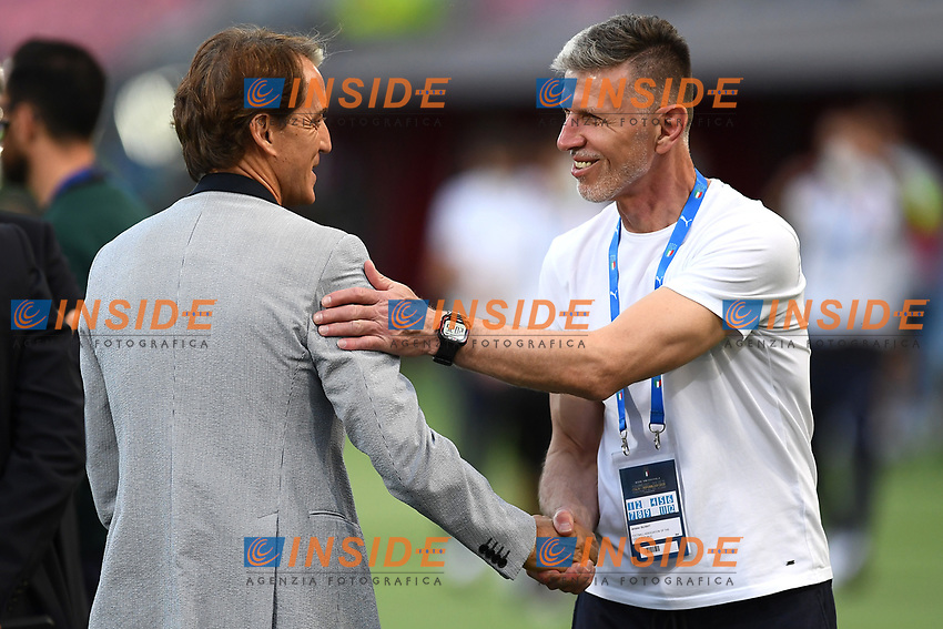 Roberto Mancini,Jaroslav Silhavy<br /> Uefa European friendly football match between Italy and Czech Republic at stadio Renato Dall'Ara in Bologna (Italy), June, 4th, 2021. Photo Image Sport / Insidefoto