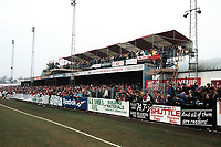 A bumper crowd looks on from a temporary stand during Kidderminster Harriers vs West Ham United, FA Cup Football at the Aggborough Stadium on 19th February 1994