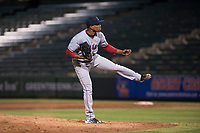 AZL Indians 2 starting pitcher Daritzon Feliz (55) follows through on his delivery during an Arizona League game against the AZL Angels at Tempe Diablo Stadium on June 30, 2018 in Tempe, Arizona. The AZL Indians 2 defeated the AZL Angels by a score of 13-8. (Zachary Lucy/Four Seam Images)