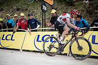 Giulio Ciccone (ITA/Trek-Segafredo) on his way to yellow up the gravel section in the final stretch to the finish line up La Planche des Belles Filles<br /> <br /> Stage 6: Mulhouse to La Planche des Belles Filles (157km)<br /> 106th Tour de France 2019 (2.UWT)<br /> <br /> ©kramon