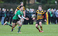 ULSTER SCHOOLS CUP QUARTER FINAL - RBAI vs SULLIVAN | Saturday 20th February 2016<br /> <br /> Calum Jeffrey moves play wide during the quarter final clash of the Ulster Schools Cup between RBAI and Sullivan Upper School at Osborne Park, Belfast, Northern Ireland. Photo credit: John Dickson / DICKSONDIGITAL