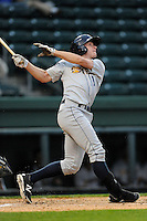 John Murphy (3) of the Charleston RiverDogs bats in a game against the Greenville Drive on Monday, April 14, 2014, at Fluor Field at the West End in Greenville, South Carolina. Charleston won, 11-3. (Tom Priddy/Four Seam Images)