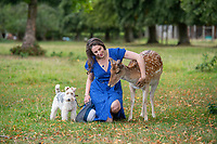 BNPS.co.uk (01202 558833)<br /> Pic: PhilYeomans/BNPS<br /> <br /> Animal Magic - Eleanor Hervey-Bathurst has hand reared fallow deer buck 'Inchy' after she was abandoned by her mother shortly after being born five years ago.<br /> <br /> The beautiful animal now leads a dual life, living with the rest of its herd on the Hervey-Bathurst estate near Basingstoke most of the time, but still perfectly tame and friendly with law student Eleanor and the family terrier Greta.