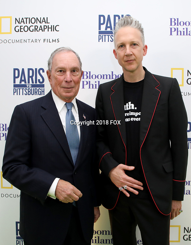 """LONDON, UK - DECEMBER 11: Michael Bloomberg and Jefferson Hack attend the London Premiere of Bloomberg and National Geographic's """"Paris to Pittsburgh"""" at the BAFTA Theatre on December 11, 2018 in London, UK. (Photo by Vianney Le Caer/National Geographic/PictureGroup)"""