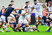 26th March 2021, Stade de France, Saint-Denis, France; Guinness 6-Nations international rugby, France versus Scotland;  Julien Marchand (Fra) is grabbed by Sutherland of Scotland on a break