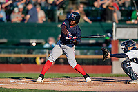 24 August 2019: Lowell Spinners outfielder Gilberto Jimenez in action against the Vermont Lake Monsters at Centennial Field in Burlington, Vermont. The Spinners rallied in the 9th inning to overcome a 2-1 deficit and defeat the Lake Monsters 3-2 in NY Penn League play. Mandatory Credit: Ed Wolfstein Photo *** RAW (NEF) Image File Available ***