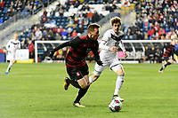 Chester, PA - Friday December 08, 2017: Corey Baird, Pau Belana The Stanford Cardinal defeated the Akron Zips 2-0 during an NCAA Men's College Cup semifinal match at Talen Energy Stadium.