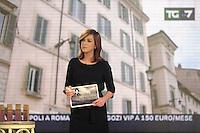 """- Milano, gli studi televisivi di LA7 da cui va in onda la trasmissione di approfondimento informativo """"Le invasioni barbariche""""; la giornalista e conduttrice Daria Bignardi<br /> <br /> - Milan, television studios of LA7 from which is transmitted the in-depth information show """"The barbarian invasion""""; the journalist and anchorwoman Daria Bignardi"""