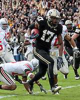 Purdue wide receiver Aaron Valentin scores on a 23-yard reception. The Purdue Boilermakers defeated the Ohio State Buckeyes 26-18 at Ross-Ade Stadium, West Lafayette, Indiana on October 17, 2009..