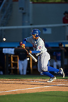 Ricardo Cespedes (32) of the Kingsport Mets lays down a bunt against the Danville Braves at American Legion Post 325 Field on July 9, 2016 in Danville, Virginia.  The Mets defeated the Braves 10-8.  (Brian Westerholt/Four Seam Images)