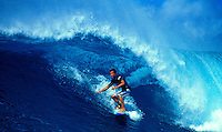Micah Nickens surfing in Honolua Bay on Maui