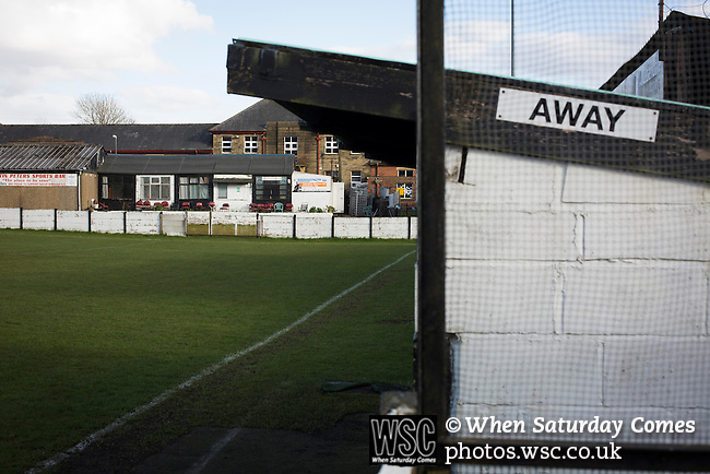Bacup Borough 4 Holker Old Boys 1, 25/04/2016. Brain Boys West View Stadium, NorthWest Counties League Division One. The away dugout and Martin Peters Social Club at the Brain Boys West View Stadium before Bacup Borough play Holker Old Boys in a NorthWest Counties League division one fixture. Formed as Bacup in 1879, the club moved into their current home in 1889 and have been known as Bacup Borough since the 1920s, apart from a brief recent spell when they added the name Rossendale to their name. With both teams challenging for play-off places, Bacup Borough won this fixture by 4-1, watched by a crowd of 50. Photo by Colin McPherson.