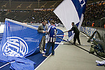 Hertha Berlin 1 Sporting Lisbon 0, 16/12/2010. Olympic Stadium, Europa League. The official team flag-wavers get ready for action before Hertha Berlin take on Sporting Lisbon in the Olympic Stadium in Berlin in a UEFA Europa League group match. Hertha won the match by 1 goal to nil to press to the knock-out round of the cup. 2009/10 was the the first year in which the Europa League replaced the UEFA Cup in European football competition. Photo by Colin McPherson.