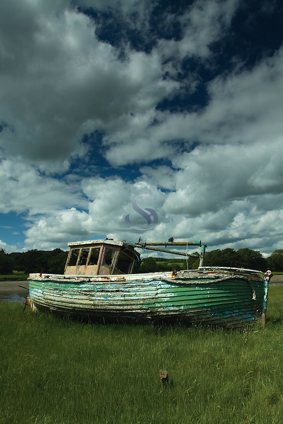 An old fishing boat beside the River Dee, Kirkcudbright, Dumfries and Galloway<br /> <br /> Copyright www.scottishhorizons.co.uk/Keith Fergus 2011 All Rights Reserved