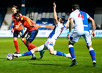 21st November 2020; Kenilworth Road, Luton, Bedfordshire, England; English Football League Championship Football, Luton Town versus Blackburn Rovers; Sam Gallagher of Blackburn Rovers stopping a pass to Pelly Ruddock of Luton Town
