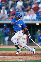 Dunedin Blue Jays center fielder David Harris (4) at bat during a game against the Clearwater Threshers on April 8, 2016 at Bright House Field in Clearwater, Florida.  Dunedin defeated Clearwater 8-3.  (Mike Janes/Four Seam Images)
