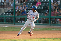 Stockton Ports left fielder Dairon Blanco (5) rounds first base during a California League game against the Visalia Rawhide at Visalia Recreation Ballpark on May 8, 2018 in Visalia, California. Stockton defeated Visalia 6-2. (Zachary Lucy/Four Seam Images)