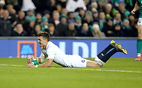 Saturday 2nd February 2019 | Ireland vs England<br /> <br /> Henry Slade scores for England during the opening Guinness 6 Nations clash between Ireland and England at the Aviva Stadium, Lansdowne Road, Dublin, Ireland.  Photo by John Dickson / DICKSONDIGITAL