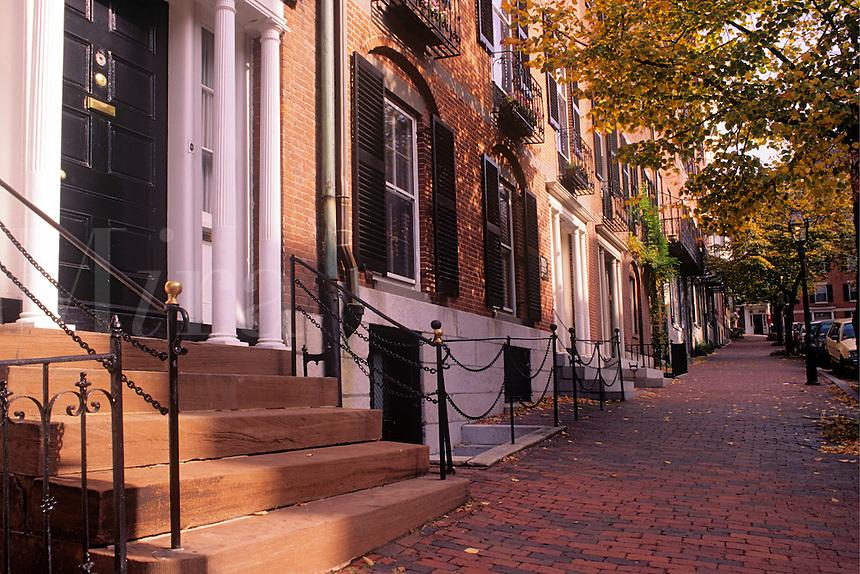 Row houses Beacon Hill district Boston Massachusetts