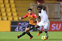Gianluca Lapadula of Benevento Calcio and Mbala Nzola of Spezia Calcio compete for the ball<br /> during the Serie A football match between Benevento Calcio and Spezia Calcio at stadio Ciro Vigorito in Benevento (Italy), November 7th, 2020. <br /> Photo Cesare Purini / Insidefoto