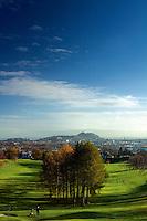 Edinburgh, Arthur's Seat, Salisbury Crags and Murrayfield Golf Course from Corstorphine Hill, Edinburgh