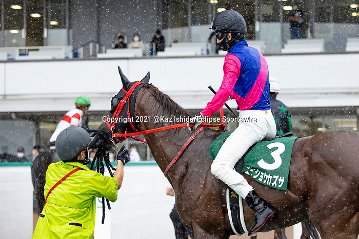 KITAKYUSHU,JAPAN-JUL 11: Meisho Kazusa,ridden by Kohei Matsuyama, after winning the Procyon Stakes at Kokura Racecourse on July 11,2021 in Kitakyushu,Fukuoka,Japan. Kaz Ishida/Eclipse Sportswire/CSM
