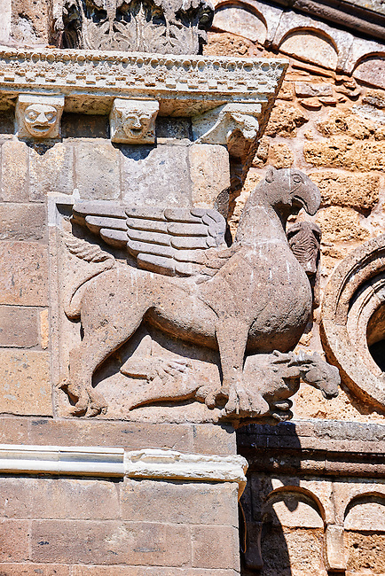 13th century winged griffin on the 8th century Romanesque Basilica church of St Peters, Tuscania, Lazio, Italy