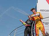 Verizon IndyCar Series<br /> IndyCar Grand Prix<br /> Indianapolis Motor Speedway, Indianapolis, IN USA<br /> Saturday 13 May 2017<br /> Will Power, Team Penske Chevrolet, Ryan Hunter-Reay, Andretti Autosport Honda champagne<br /> World Copyright: Geoffrey M. Miller LAT Images