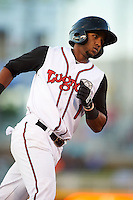 Lansing Lugnuts shortstop Richard Urena (1) runs the bases after hitting a home run during a game against the Peoria Chiefs on June 6, 2015 at Cooley Law School Stadium in Lansing, Michigan.  Lansing defeated Peoria 6-2.  (Mike Janes/Four Seam Images)