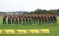 20th March 2021; Dunedin, New Zealand;  Bangladesh team during their National Anthem during the New Zealand Black Caps v Bangladesh International one day cricket match. University Oval, Dunedin.