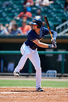 Montgomery Biscuits first baseman Dalton Kelly (9) at bat during a game against the Biloxi Shuckers on May 8, 2018 at Montgomery Riverwalk Stadium in Montgomery, Alabama.  Montgomery defeated Biloxi 10-5.  (Mike Janes/Four Seam Images)