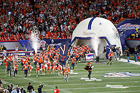 ATLANTA, GA - DECEMBER 31: The Virginia Cavalier run onto the field before the 2011 Chick Fil-A Bowl against the Auburn Tigers at the Georgia Dome on December 31, 2011 in Atlanta, Georgia. Auburn defeated Virginia 43-24. (Photo by Andrew Shurtleff/Getty Images) *** Local Caption ***