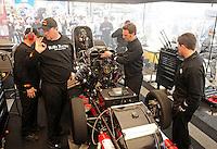 Feb. 26, 2011; Pomona, CA, USA; NHRA funny car driver Melanie Troxel during qualifying at the Winternationals at Auto Club Raceway at Pomona. Mandatory Credit: Mark J. Rebilas-.