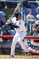 Binghamton Mets infielder Oswaldo Navarro #26 at bat during a game against the Akron Aeros at NYSEG Stadium on April 7, 2012 in Binghamton, New York.  Binghamton defeated Akron 2-1.  (Mike Janes/Four Seam Images)