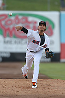Nathan Bates (47) of the Inland Empire 66ers throws in the bullpen before pitching against the Rancho Cucamonga Quakes at San Manuel Stadium on July 29, 2017 in San Bernardino, California. Inland Empire defeated Rancho Cucamonga, 6-4. (Larry Goren/Four Seam Images)