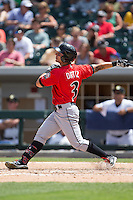 Danny Ortiz (3) of the Indianapolis Indians follows through on his swing against the Charlotte Knights at BB&T BallPark on June 19, 2016 in Charlotte, North Carolina.  The Indians defeated the Knights 6-3.  (Brian Westerholt/Four Seam Images)