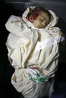 Ameera Alsmairi new baby 10 days age killed by Isreal air strike after  25 Israeli armored vehicles rumbled into southern Gaza and clashed with militants after nightfall Tuesday. A 1-month-old baby was killed in the crossfire, a medical official said.March.05.2008.'photo by Fady Adwan'