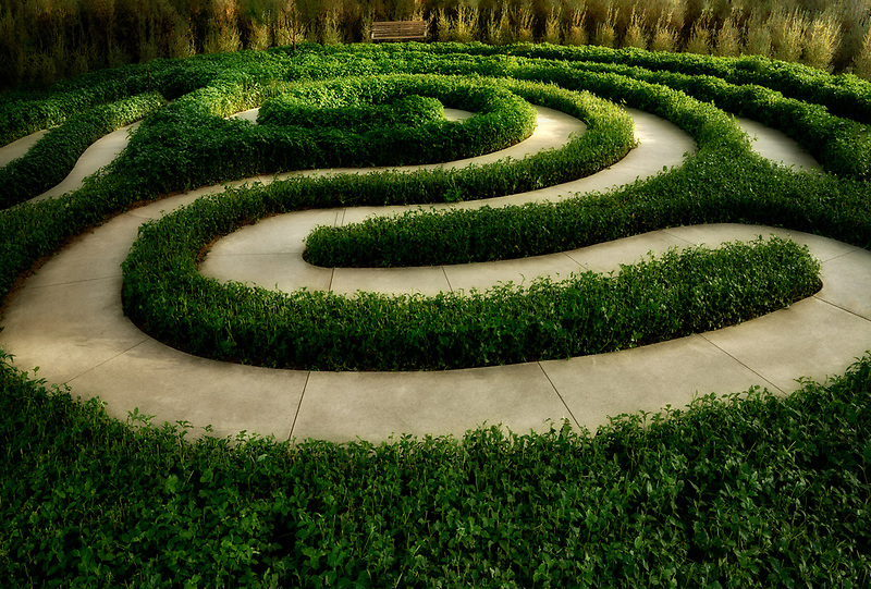 Garden sculpture labyrinth path. Sunnylands gardens. Palm Springs, California