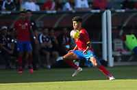 CARSON, CA - FEBRUARY 1: Johan Venegas #7 of Costa Rica traps a ball during a game between Costa Rica and USMNT at Dignity Health Sports Park on February 1, 2020 in Carson, California.