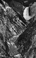 A monochrome view of Yellowstone's 300 foot waterfall.