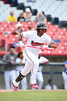 Josh Morgan (3) of the High Desert Mavericks bats against the Rancho Cucamonga Quakes at Heritage Field on May 8, 2016 in Adelanto, California. Rancho Cucamonga defeated High Desert, 11-5. (Larry Goren/Four Seam Images)