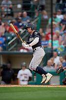 Scranton/Wilkes-Barre RailRiders Clint Frazier (77) at bat during an International League game against the Rochester Red Wings on June 24, 2019 at Frontier Field in Rochester, New York.  Rochester defeated Scranton 8-6.  (Mike Janes/Four Seam Images)
